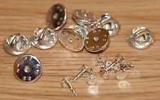 10 x SILVER Coloured METAL HAT PIN BACKS & TACS lapel pins Butterfly Clasp