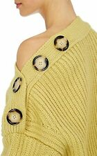 Acne Studios NWT Holden Oversized Buttons Off Shoulder Sweater M Mimosa Yellow