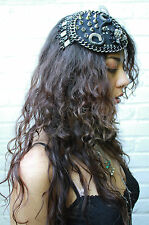 BLACK SKULL SPIKED INDUSTRIAL TEARDROP FASCINATOR HAT ALT STEAMPUNK CYBER