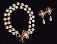 CHANEL - Double Faux Pearl Strand  Gold Choker Collar Necklace Teardrop Earrings