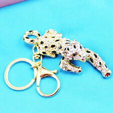 leopard Keychain Crystal Keyring Key Ring Chain Bag Charm Pendant Christmas gift