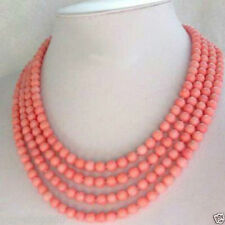 """Fashion jewelry 4 Strands 6-7mm Pink Coral Necklace 17-20"""""""