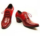 Fashion Men's Dress Pointed Toe Lace Up PU Leather Comfort Cuban Heel Shoes &329