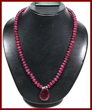 520 Ct Natural African Red Ruby Round Cabochon Beaded Necklace//24 Inc W Pendant