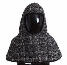 NWT $3000 DOLCE & GABBANA Gray Weasel Fur Crochet Hood Scarf Hat Crystal s. 57/M