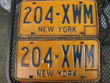 VINTAGE   NY NEW YORK STATE PLATE   # 204 XWM  AUTHENTIC ORIGINAL US  PLATES (2)