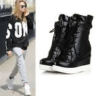Womens Shiny High Top Platform Velcro Wedge Hidden Heel Shoes Sneakers Round Toe