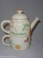 "SONOMA ""IN THE GARDEN"" TEA FOR ONE STACKING TEAPOT & CUP SET - 3 PCS."