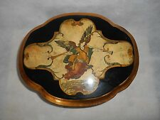 Vintage Angel playing trumpet lacquered wooden Oval accessory box