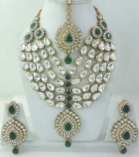 GREEN CZ GOLD TONE INDIAN BOLLYWOOD ROYAL BRIDAL NECKLACE JEWELRY SET 4 PCS