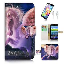 Samsung Galaxy S5 Flip Wallet Case Cover! P1058 Horse with Wing