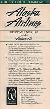 Alaska Airlines Timetable  June 8, 1992  60th anniversary issue =