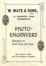 1907 W Mate & Sons Photo-engravers Bournemouth Ad