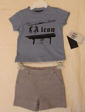 BOYS 3-6 months Juicy Couture Baby 2-piece outfit NWT t-shirt & shorts L.A. icon