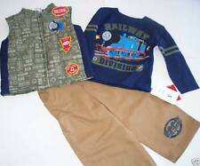 NEW Thomas The Tank Engine 3PC OUTFIT SET 12 MONTHS VEST, TSHIRT TOP TROUSERS