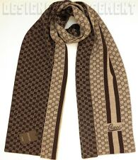 GUCCI wool Beige SCRIPT logo LUNICART Micro GUCCISSIMA XLong scarf NWT Authentic