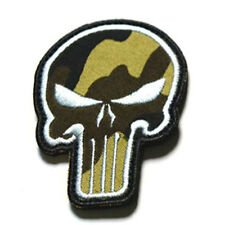 Punisher Tactical Chest Patch Velcro Fabric USA Military Morale Badge Camo Gray