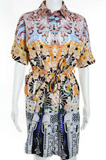 Mary Katrantzou Multi-Color Cotton Abstract Print Belted Dress Size 8 New 111059