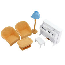 Plastic White Piano Salon Tea Table Music Room For Sylvanian Families DollHouse