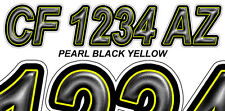 PEARL BLACK YELLOW Boat Registration Numbers or PWC Decals Stickers Graphics