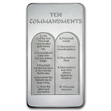 10 oz Ten Commandments Silver Bar - 10 Commandments Silver Bar - SKU #59089