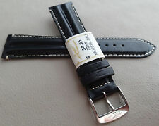 New ZRC France Black Padded Water Resistant 20mm Watch Band Chrome Buckle $34.95