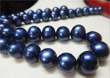 13-15mm Australian south sea blue pearl necklace 18inch 14k yellow golden      @