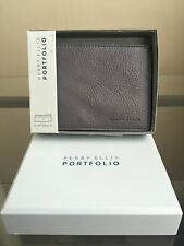 NIB PERRY ELLIS Portfolio Missiouri Slim Bi-fold Genuine Leather Wallet - Grey