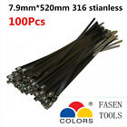 100PCS 7.9x520mm Stainless Steel Cable Zip Ties--Exhaust Wrap Coated Locking