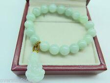 Natural Certified A Grade Jade (jadeite) 10mm Round Bead Bracelet / Kwan-yin