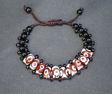 Adjustable Tibetan 10 3-eye Agate dZi Beads Beaded Bracelet -Powerful Energy!