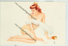 """VARGA SEXY REDHEAD WITH FEATHER- RISQUE-4""""X6""""(#22*)"""