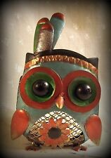 "Metal Native American Totem Pole Owl w/Feathers, 8""T, Blue, Copper, Gold, Silver"