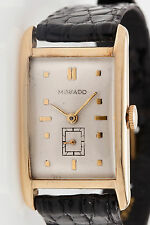 Vintage RETRO 1940s 14k Yellow Gold MOVADO Dress Mens Watch WARRANTY