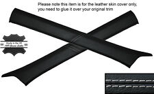 WHITE STITCH 2X A POST PILLAR SKIN COVERS FITS MERCEDES W124 E CLASS 83-95
