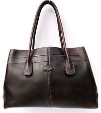 TOD'S BROWN LEATHER D-BAG TOTE BAG HANDBAG