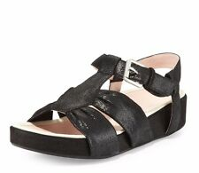 NEW TARYN ROSE WOMEN Sz7 AVILES SUEDE STRAPPY SANDAL IN BLACK