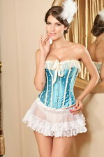 Blue and White Corset with Skirt and Panties - L430-M