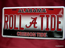 AL ALABAMA ROLL TIDE FOOTBALL CRIMSON TIDE METAL SIGN FAN CAR TAG LICENSE PLATE