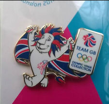 LONDON 2012 OLYMPICS PIN BADGE -  TEAM GB PRIDE THE LION & FLAG