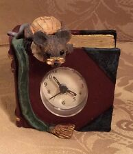 Figi Graphics Resin Clock of Book w/Mouse Battery Operated