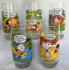VTG Peanuts Camp Snoopy Glass Tumblers Complete Set of 5 Collection McDonalds