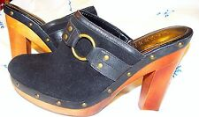 Ralph Lauren Leather Shoes Black Suede Wood Heeled Clog Strap 9 Medium