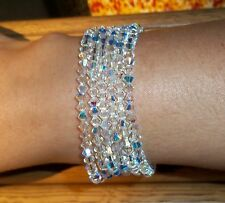 *2 SPARKLY CLEAR AB SWAROVSKI BEAD CRYSTAL  BRACELETS ON ELASTICATED THREAD*