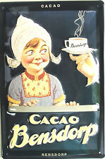 "CACAO BENSDORP 8"" X 12"" EMBOSSED METAL SIGN CUTE"
