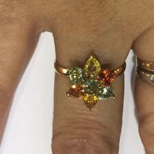 14k Solid Yellow Gold Flower Ring W/Natural Multi Color Round&Pear Sapphire2.29G