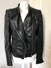 Gorgeous Zara Black Faux Leather Quilted Biker Jacket Size L Good Condition