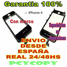 PANTALLA TACTIL PARA IPHONE 4 4G MARCO CRISTAL  TOUCH SCREEN NEGRO NUEVA A+