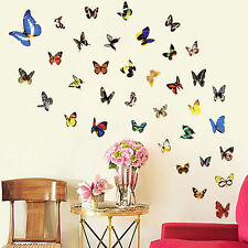 Removable 80 Pcs Colorful Butterfly Wall Stickers Decal Art Vinyl Decor DIY Home