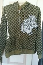 Ed Hardy Green Checkered Full Zip Hoodie Mens Size XL